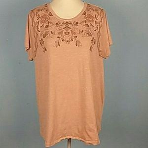 Lucky Brand Plus Size 2x pale Peach t-shirt Floral